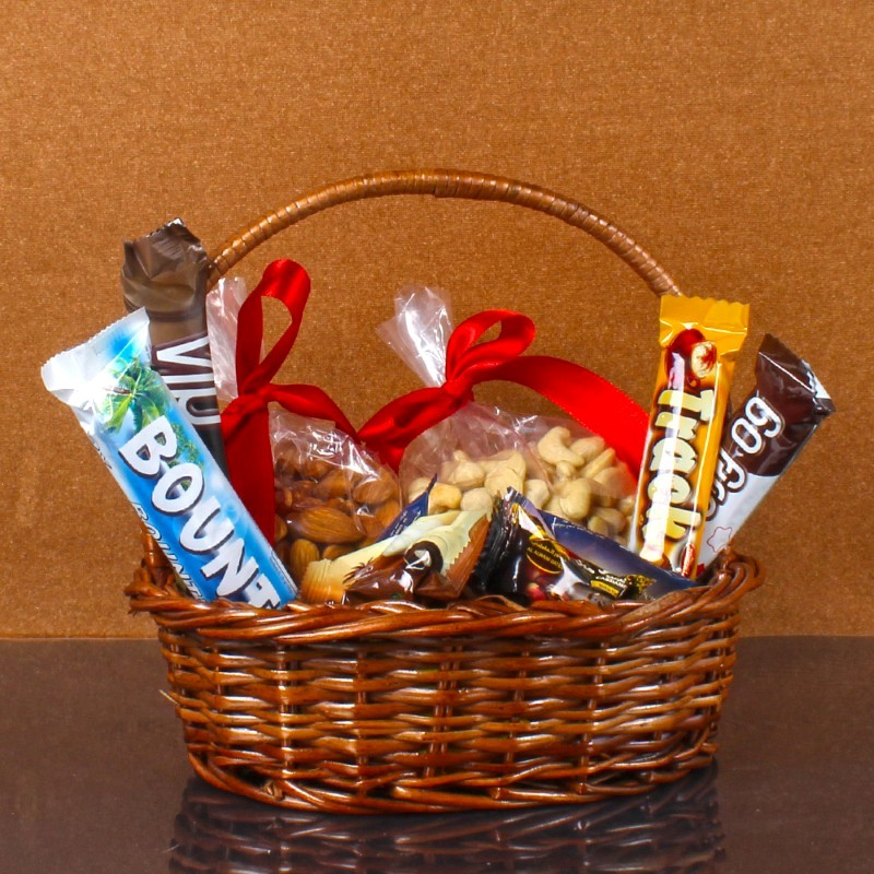 Basket Hamper of Dry-fruit and chocolate