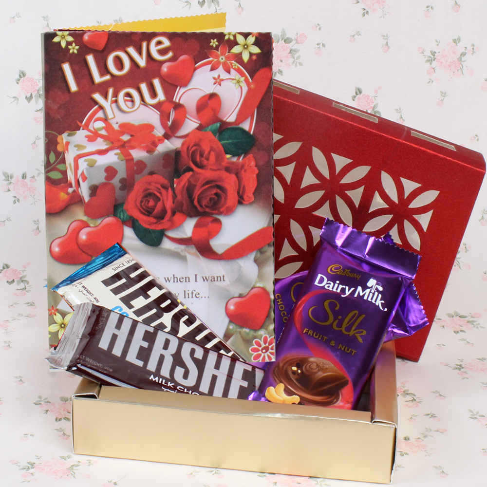 Combo of imported Chocolates and Cookies, with a Greetings Card